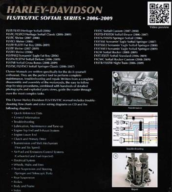 Harley-Davidson FLS, FXS, FXC Softail Series 2006 - 2010 (Plus CD)Clymer Owners Service & Repair Manual