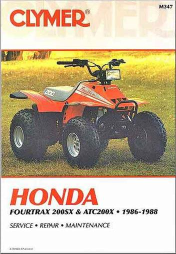 1986-1988 Cylmer Repair Service Shop Manual Honda Fourtrax 200SX and ATC200X