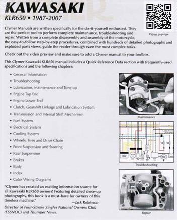 kawasaki klr650 1987 2007 clymer owners service repair. Black Bedroom Furniture Sets. Home Design Ideas