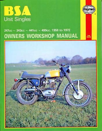 BSA Unit Singles 1958 - 1972 Haynes Owners Service & Repair Manual